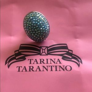Tarina Tarantino Large Aqua Pave Ring
